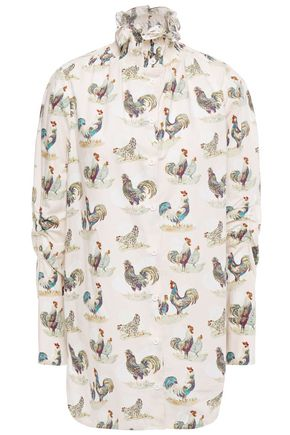 CARVEN Shirred printed cotton-poplin shirt