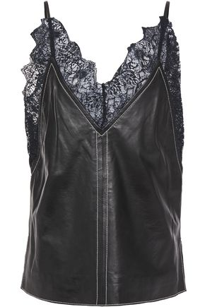 STAND STUDIO Ely lace-trimmed leather camisole