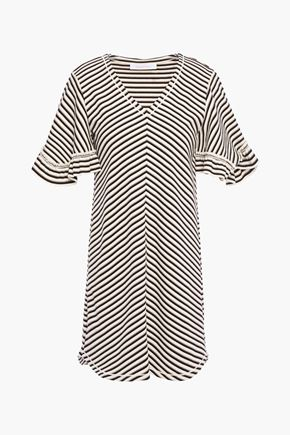 SEE BY CHLOÉ Ruffle-trimmed striped cotton mini dress
