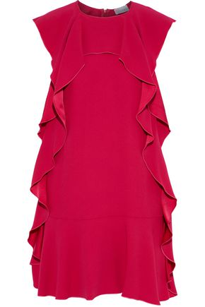 REDValentino Ruffled draped crepe mini dress