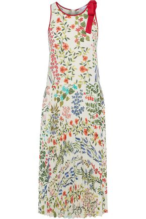 REDValentino Bow-embellished pleated floral-print crepe midi dress