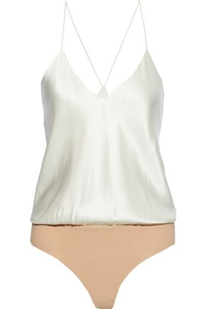 ALIX NYC Lewis silk-charmeuse and stretch-jersey bodysuit