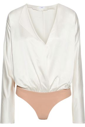 ALIX NYC Calder wrap-effect silk-charmeuse and stretch-jersey bodysuit