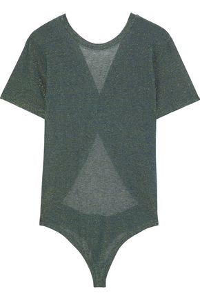 ALIX NYC Canal twist-back iridescent stretch-jersey thong bodysuit