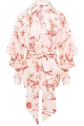 JOHANNA ORTIZ بلوزة من قماش البوبلين القطني المطبع برسومات مع ثنيات مزوّدة بحزام