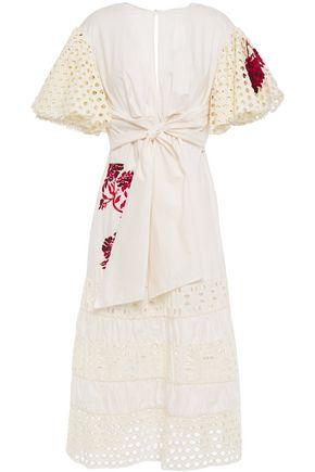 JOHANNA ORTIZ Bon Vivant tie-front broderie anglaise cotton midi dress