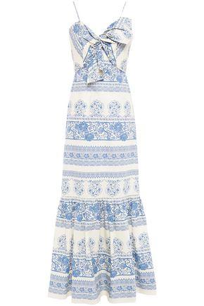 JOHANNA ORTIZ Deep Waters twist-front printed cotton-poplin maxi dress