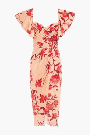 """JOHANNA ORTIZ فستان """"سيغلوس دي إيستوريا"""" بتصميم ملتفّ من القطن بتطريز إنجليزي مطبع بالورود"""