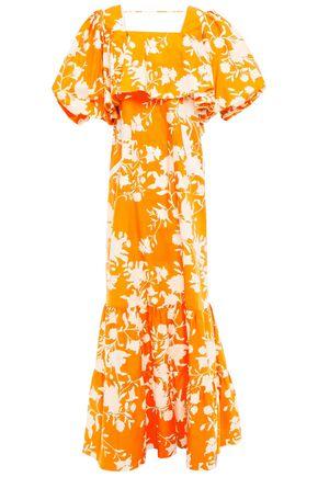 """JOHANNA ORTIZ فستان طويل """"ليسن تو يور هارت"""" بطبقات من قماش البوبلين القطني المطبع بالورود"""