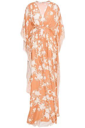 """JOHANNA ORTIZ فستان طويل """"أوبولنت سيمبليسيتي"""" بتصميم ملموم من قماش كريب دي شين الحريري المطبع برسومات"""