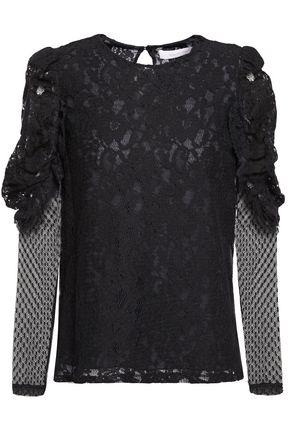 SEE BY CHLOÉ Point d'esprit-trimmed cotton-blend lace top