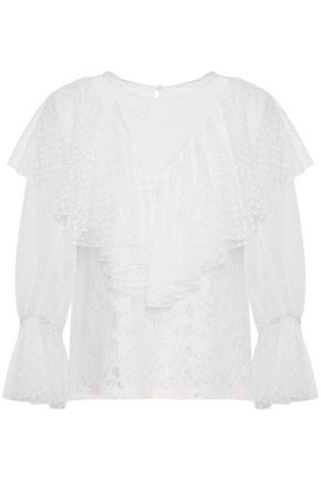 SEE BY CHLOÉ Ruffled paneled cotton-blend lace blouse