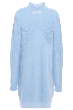 CARVEN Pointelle-trimmed knitted mini dress