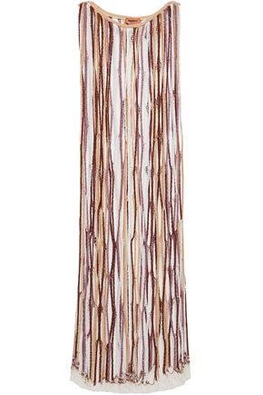 MISSONI فستان طويل محاك بالكروشيه المصنوع من مزيج الصوف مزين بجدايل