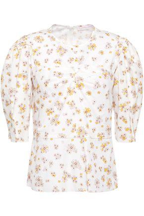SEE BY CHLOÉ توب من قماش البوبلين القطني المطبع بالورود مع ثنيات