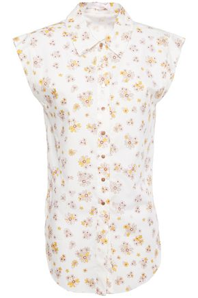 SEE BY CHLOÉ قميص من قماش البوبلين القطني المطبع بالورود