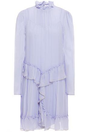 SEE BY CHLOÉ Metallic-trimmed ruffled silk-georgette mini dress
