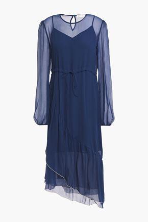 SEE BY CHLOÉ فستان متوسط الطول وبتصميم ملموم من قماش جورجيت الحريري