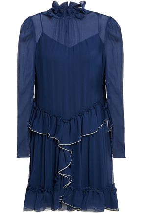 SEE BY CHLOÉ Metallic-trimmed ruffled silk-georgette mini dress
