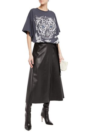 See By Chloé Printed Cotton-jersey T-shirt In Anthracite
