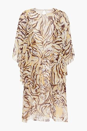 SEE BY CHLOÉ Cape-effect printed silk-georgette mini dress