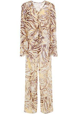 SEE BY CHLOÉ Asymmetric ruched printed silk-chiffon top