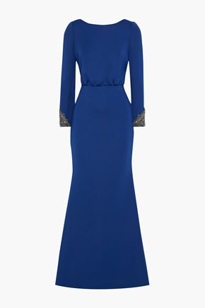 BADGLEY MISCHKA Open-back embellished scuba gown