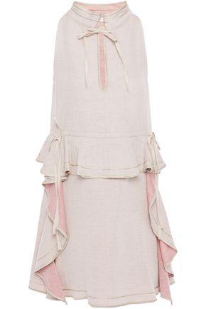 SEE BY CHLOÉ فستان قصير من مزيج الكتان والقطن مزين بعقدة فراشية مع كشكش
