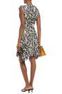 CHLOÉ Lace-trimmed pleated printed silk-chiffon mini dress