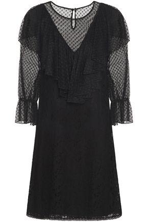 SEE BY CHLOÉ فستان قصير من الدانتيل المصنوع من مزيج القطن مع كشكش