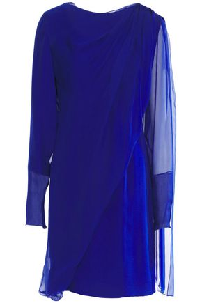 LANVIN Draped silk-chiffon mini dress