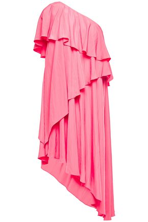 LANVIN One-shoulder asymmetric draped crinkled-crepe dress