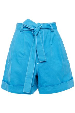 SEE BY CHLOÉ Belted pleated denim shorts