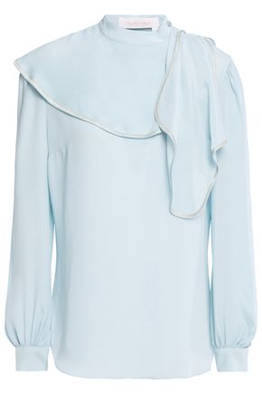 SEE BY CHLOÉ Embroidered draped crepe de chine top