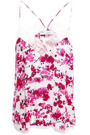 """IRO قميص تحتي """"داشر"""" من الكريب المطبع برسومات مع تقليمات من الدانتيل"""