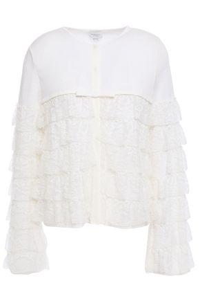 GIAMBATTISTA VALLI Tiered corded lace-paneled wool cardigan