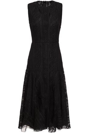 GIAMBATTISTA VALLI فستان واسع ومتوسط الطول من الدانتيل المصنوع من مزيج القطن