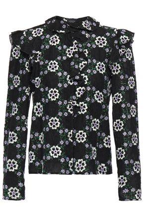GIAMBATTISTA VALLI Ruffle-trimmed embroidered lace blouse
