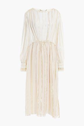 """IRO فستان متوسط الطول """"بيلافد"""" من الشيفون المصنوع من مزيج الحرير لون ميتاليك"""