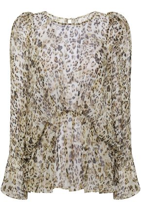 IRO Gathered leopard-print silk-georgette blouse