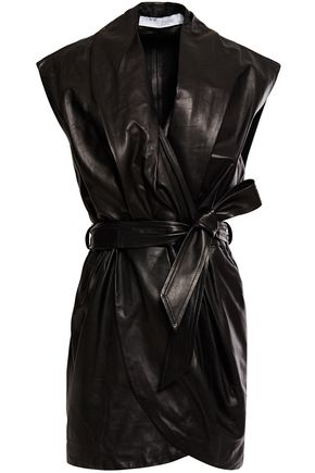 IRO Manda wrap-effect leather mini dress