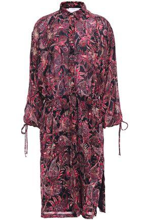 "IRO فستان ""بلاسيد"" بتصميم ملموم من الشيفون المطبع برسومات"