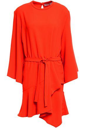IRO فستان قصير من الكريب لون نيون مزوّد بحزام