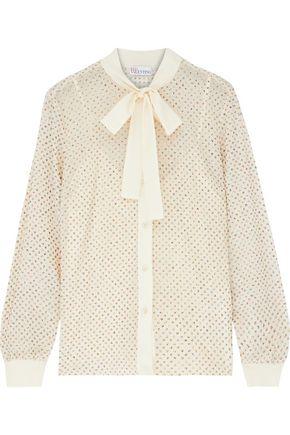 REDValentino Crepe de chine-trimmed glittered silk-georgette blouse