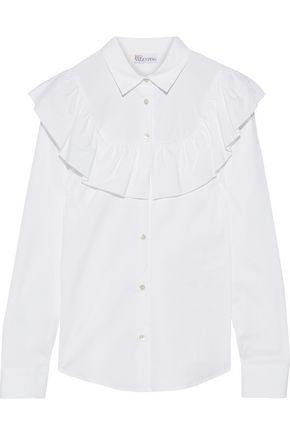 REDValentino Ruffled cotton-blend poplin shirt