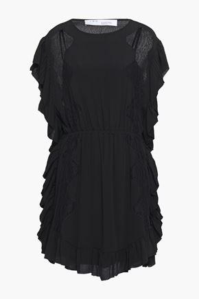 IRO فستان قصير بتصميم ملموم من الكريب مع تقليمات من الدانتيل