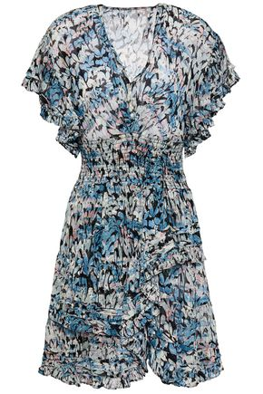 """IRO فستان قصير """"جينكا"""" بطبقات من الشيفون مخيط بأسلوب فيل كوبيه ومطبع برسومات"""