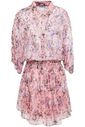 IRO فستان قصير بتصميم ملموم من مزيج الحرير مخيط بأسلوب فيل كوبيه لون ميتاليك ومطبع برسومات