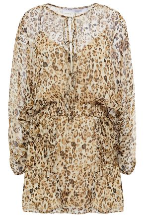 IRO Caprio leopard-print silk-chiffon mini dress