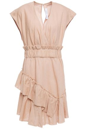 "IRO فستان قصير ""بيلو"" بطبقات من مزيج القطن والكتان"